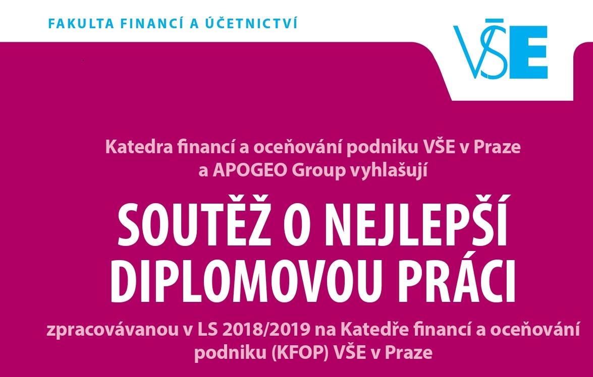 KFOP a APOGEO Group vyhlašují soutěž o nejlepší diplomovou práci